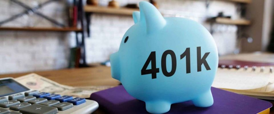 401k pension plan concept. Piggy bank and money at the kitchen.