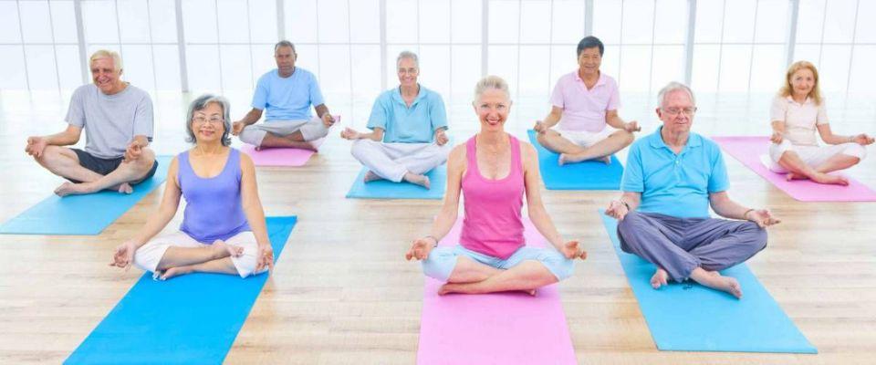 Group of elderly folks doing yoga