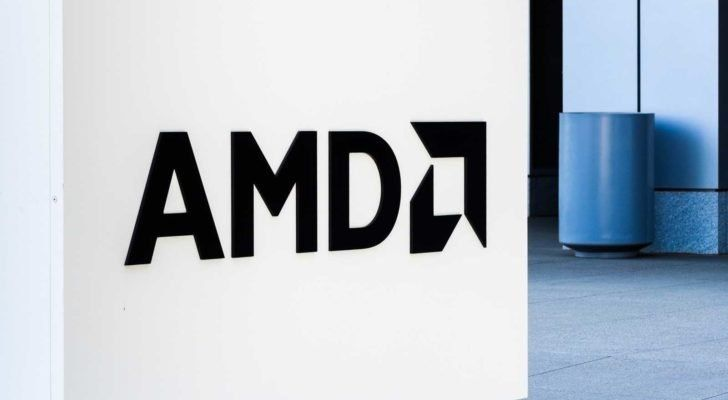 Image of the Advanced Micro Devices (AMD) logo outside of a corporate building