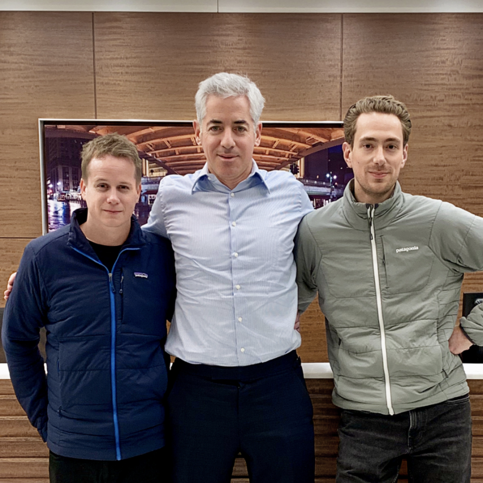 Tiny co-founder Chris Sparling (L), Bill Ackman (center), Tiny co-founder Andrew Wilkinson (R)