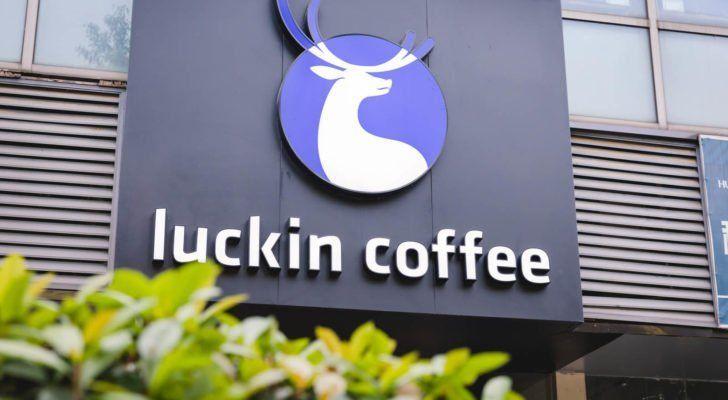 close up luckin coffee's logo coffee brand in Shanghai, June 2019.